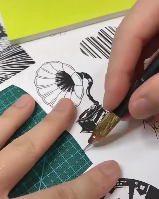 Watch and share Hand Carving A Stamp GIFs by Boojibs on Gfycat