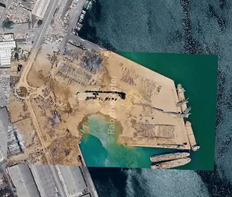 Before and After Beirut Harbor - gif