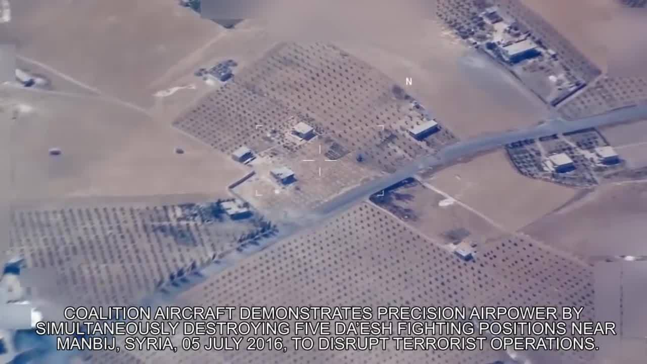 cjtf-oir, militarygfys, oddlysatisfying, Jul 5: Coalition aircraft simultaneously destroys 5 Da'esh fighting positions in Syria GIFs