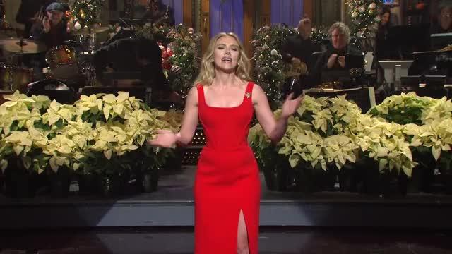 scarlett Johansson looking gorgeous hosting SNL.
