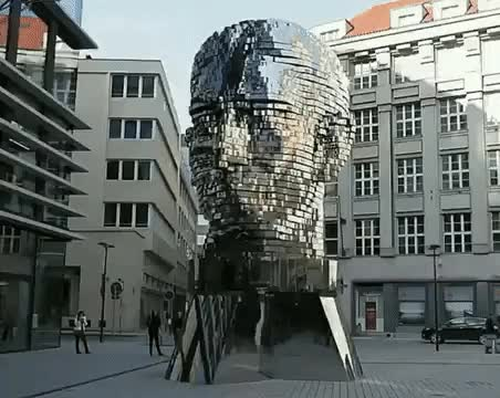 Watch and share This Sculpture Of Franz Kafka's Head Created By Artist David Černý In Prague Weighs 45 Tons And It's Fully Self-rotating GIFs on Gfycat