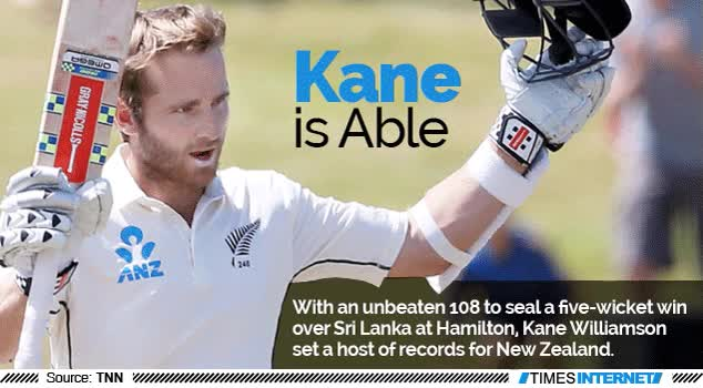 Watch and share With An Unbeaten 108 To Seal A Five-wicket Win Over Sri Lanka At Hamilton, Kane Williamson Set A Host Of Records For New Zealand. GIFs on Gfycat