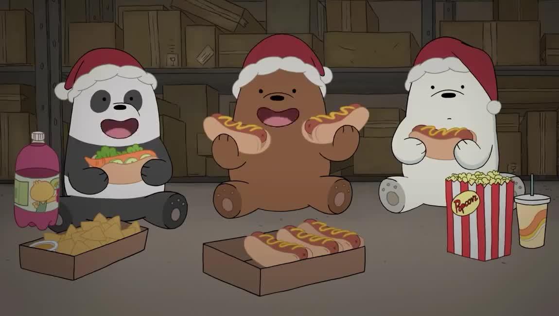 bare, bears, cartoon, chips, christmas, corn, dog, eat, food, hot, jingle, junk, movie, network, night, pop, popcorn, rock, we, xmas, We Bare Bears | Jingle Bear Rock | Cartoon Network GIFs