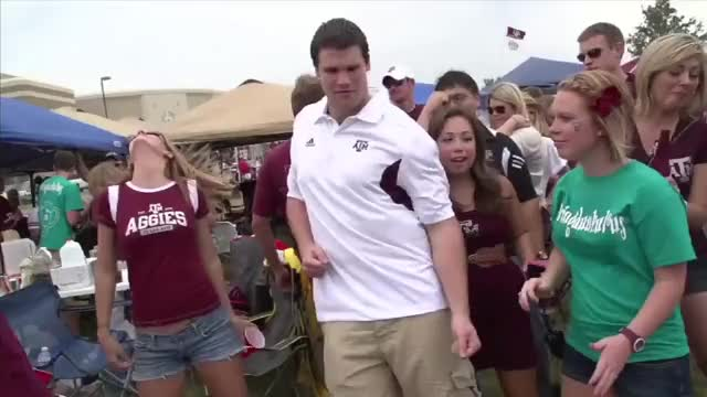 Watch Michael from A&M - Tailgate Rivals Ultimate Tailgater GIF on Gfycat. Discover more Cheer, Cheerleading, FSN, Football, LSU, Longhorns, Southwest, TCU, arkansas, baylor, cheerleader, college, facebook, fox, oklahoma, ou, ryan, tailgate, tailgater, ut GIFs on Gfycat