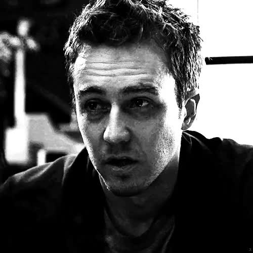Watch this ed norton GIF on Gfycat. Discover more *, 1999, 90s, black and white, bw, cine, cinema, david fincher, edward norton, el club de la lucha, favourite movies, fight club, film, gif, gifs, movies, my gifs, my stuff, narrator, upload GIFs on Gfycat