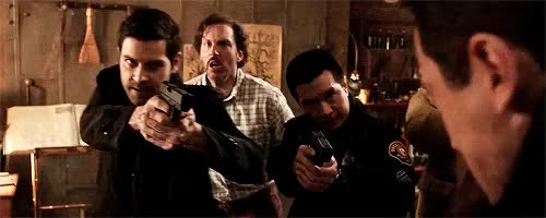 Watch #acting GIF on Gfycat. Discover more drew wu, flashing gif, gifs, grimm, grimm spoilers, grimmedit, guns cw, hank griffin, monroe, nick burkhardt, their faces are hilarious GIFs on Gfycat