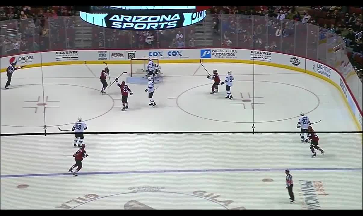 Martinook (Coyotes) with a Great Deflection for a Goal against the Sharks