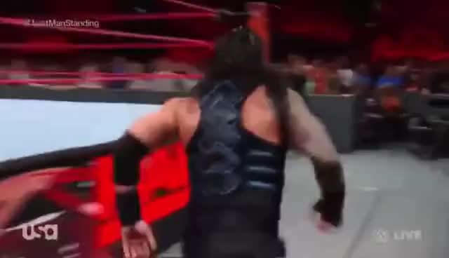 Watch and share Braun Strowman Throws A Chair At Roman Reigns GIFs on Gfycat