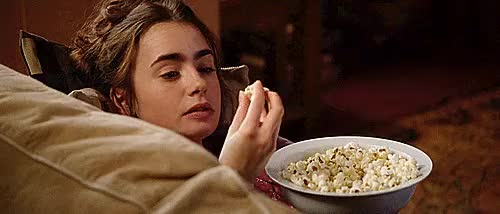 Watch this lily collins GIF on Gfycat. Discover more aka, gifs, lily collins, love rosie, my favorite rosie, popcorn, pregnant rosie, what an angel tho GIFs on Gfycat