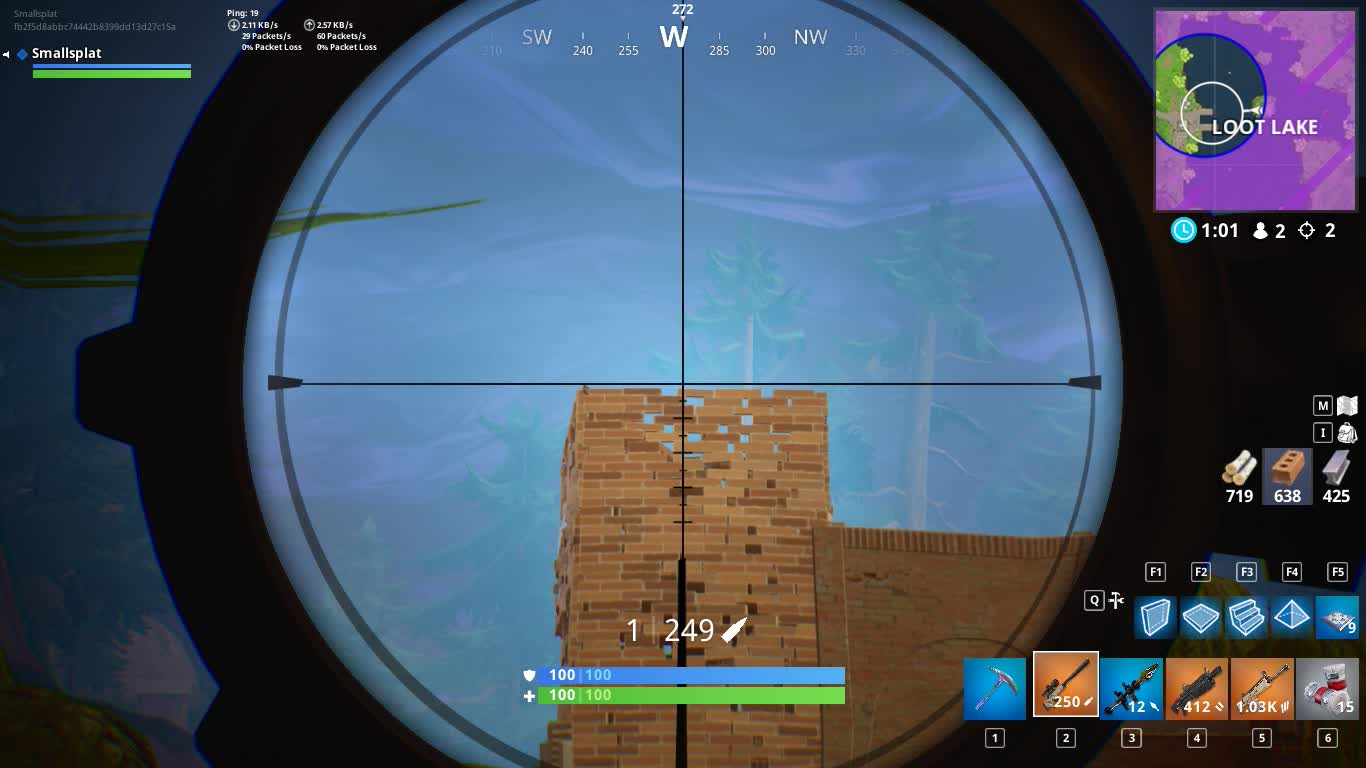 Fortnite Though Explosion headshot snipe