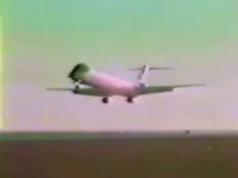 Watch and share Tail Of A MD-80 Coming Off As It Comes Into Land During A Flight Demonstration In May, 1980 GIFs by tothetenthpower on Gfycat