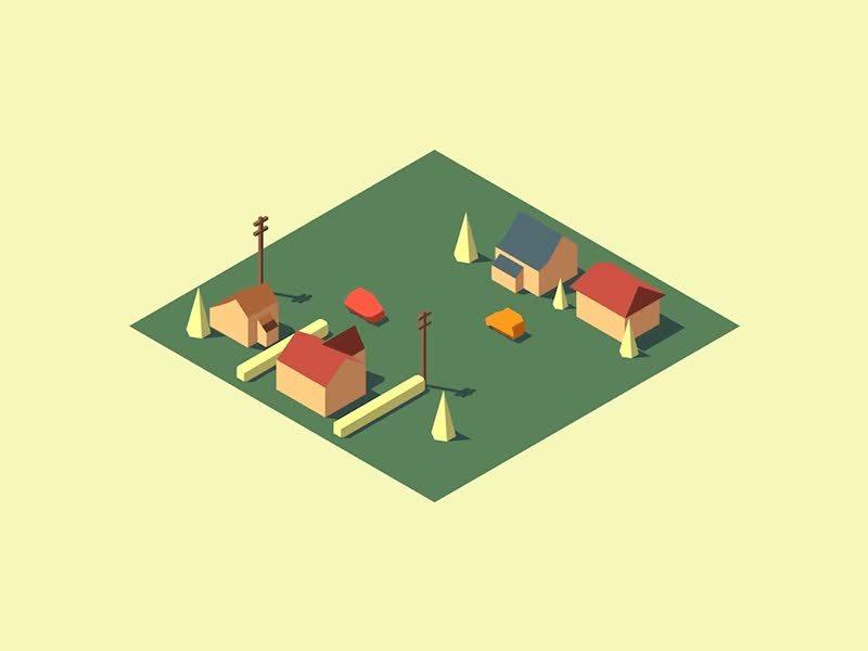 SurrealGifs, loadingicon, Little Isometric Village (reddit) GIFs