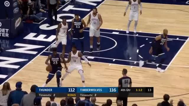 Watch and share Jimmy Butler & KAT Lead The Wolves To A Victory Over OKC | October 27, 2017 GIFs on Gfycat