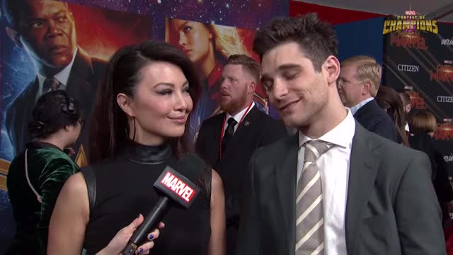 (Guy behind having none of it from  Jeff Ward) Agents of S.H.I.E.L.D. Ming-Na Wen & Jeff Ward at Captain Marvel Premiere twice omg ok ming-na wen mina melinda may marvel studios lol kpop korea jeff ward funny deke shaw cute cosmicgirls celebs captain marvel aww arin agents of s.h.i.e.l.d. GIF