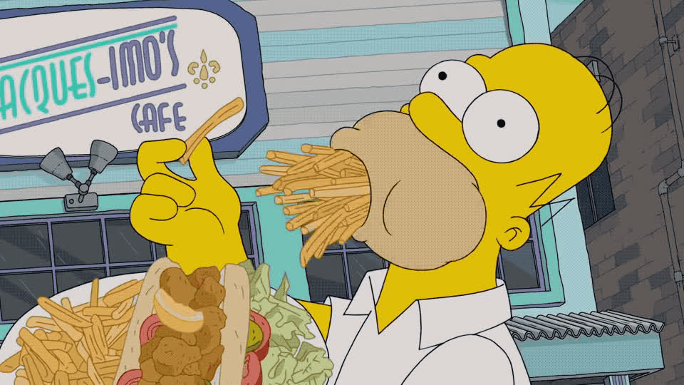 dinner, dumb, food, fries, full, happy, homer, hungry, junk, lol, lunch, mmm, mouth, new, orleans, satisfied, simpson, to, way, yummy, Homer is eating fries GIFs