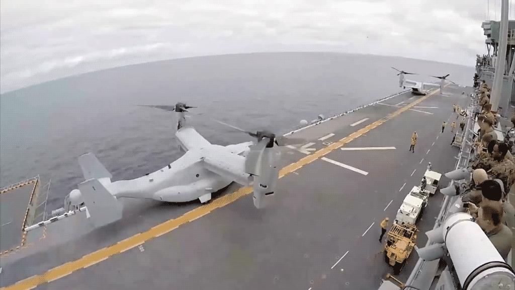 MV-22, Militaryaviation, militarygfys, USMC MV-22's Taking off from a US Navy LHA GIFs