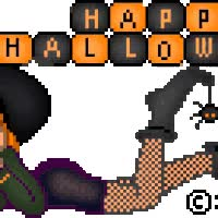 Watch and share Happy Halloween Witch Animated Doll Girl Pixel Broomstick Gif Animation animated stickers on Gfycat