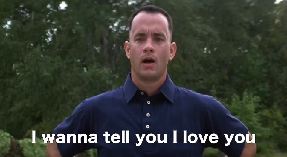 Forrest Gump I love you, Tom Hanks, i love you, I love you GIFs