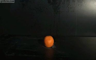 Orange explodes in slow motion GIFs