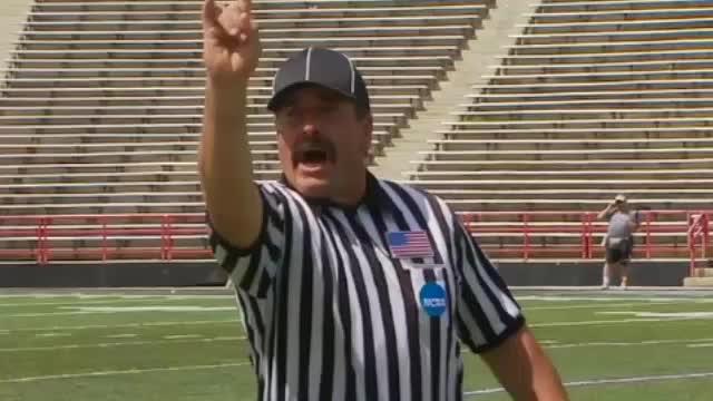 lacrosse, mustache, penalty, ref, referee, slash, Mustached lacrosse ref signals slash GIFs