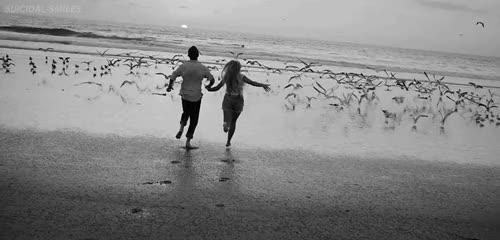 Couple Love Courir Sur La Plage Amour Noir Et Blanc