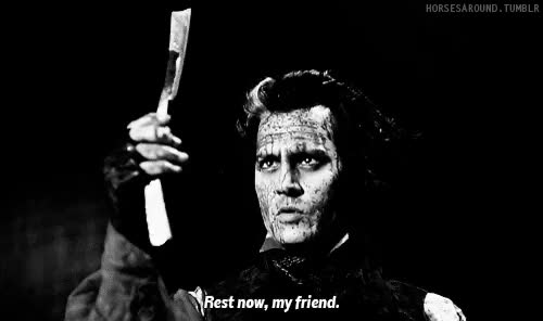 Watch and share Black And White GIFs and Sweeney Todd GIFs on Gfycat