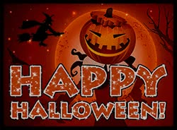 Watch and share Happy Halloween With A Witch Flying, Bats And Pumpkin Head. GIFs on Gfycat