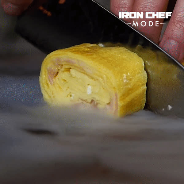 GifRecipes, Cheesy Rolled Omelet (reddit) GIFs