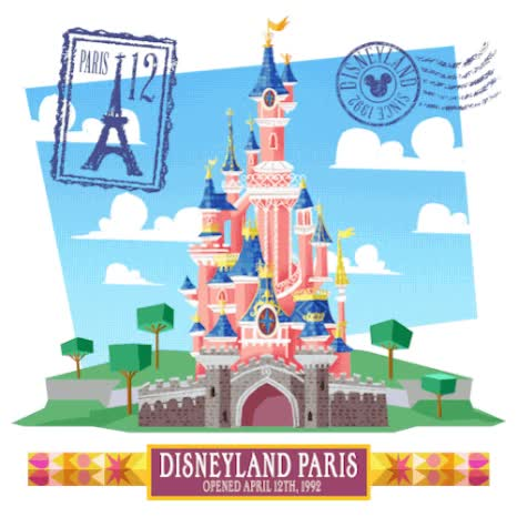 Watch and share Disney:Happy Birthday To Disneyland Paris!I Made This Animated Gif For The Anniversary Of Disneyland Paris! Yay! animated stickers on Gfycat