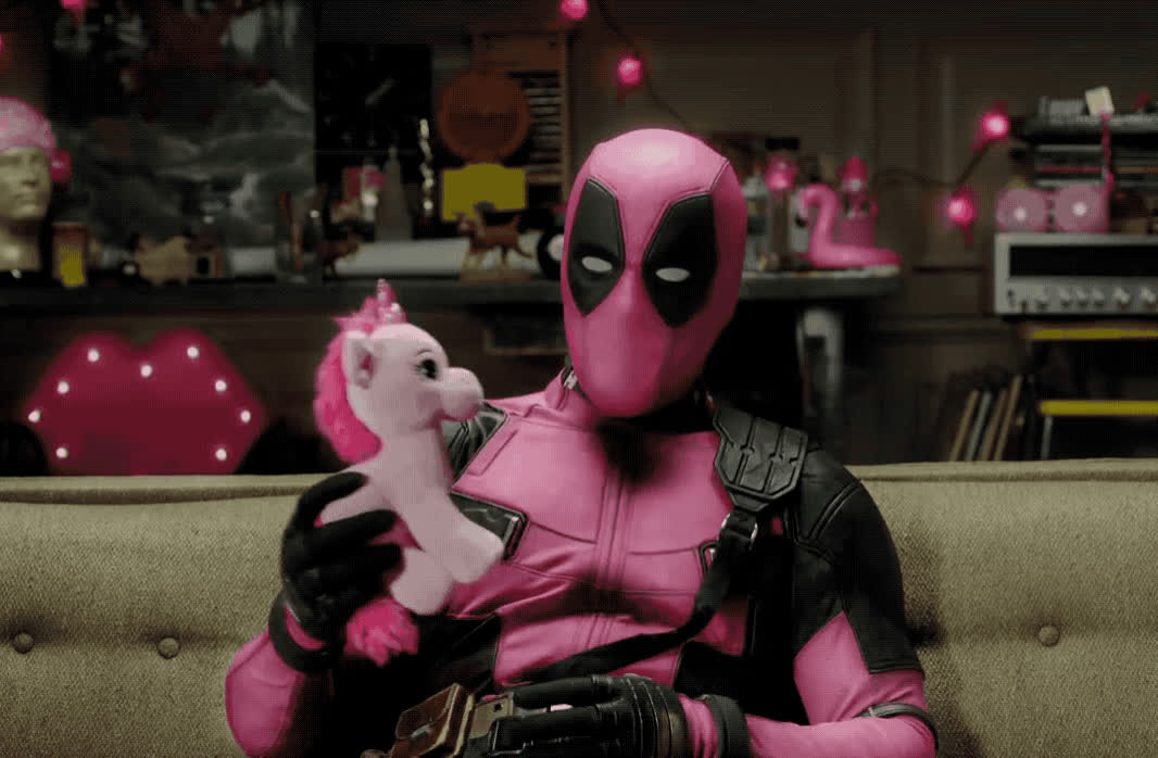 away, couch, deadpool, epic, funny, haha, hero, hilarious, kiss, kisses, laugh, lol, message, movie, pink, special, superhero, teaser, throw, unicorn, A very special message from Deadpool GIFs