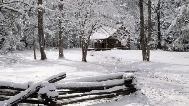 Watch and share GIF: Copos De Nieve Cayendo Sobre La Cabaña GIFs on Gfycat
