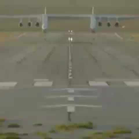 stratolaunch, This is the largest airplane in the world to fly. It's wider than a football field is long GIFs