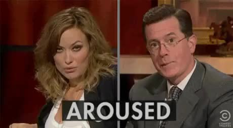 Watch and share Stephen Colbert GIFs and Olivia Wilde GIFs on Gfycat