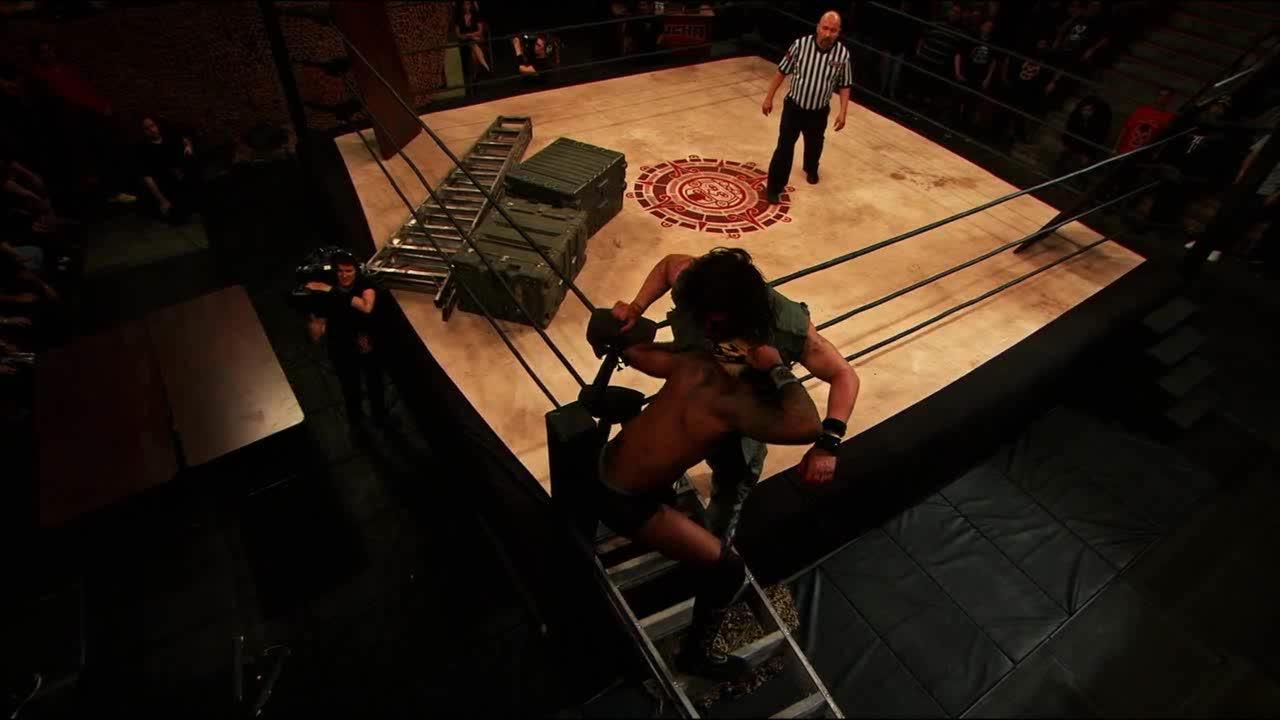 Killshot, LuchaUnderground, SquaredCircle, Lucha Underground - Killshot with a death valley driver onto a ladder! GIFs