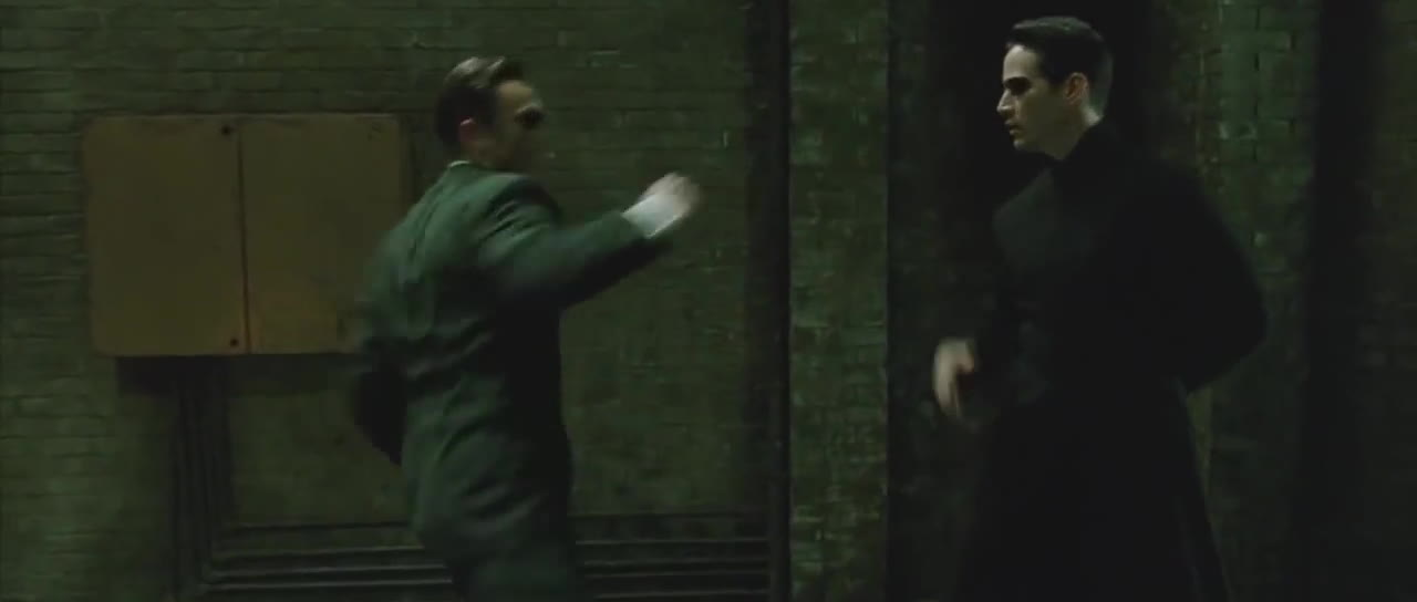agent smith, carrie anne moss, keanu reeves, laurence fishburne, matrix, morpheus, movies, neo, reloaded, the matrix, trinity, The Matrix Reloaded - Neo VS Agents - Re-Sound GIFs
