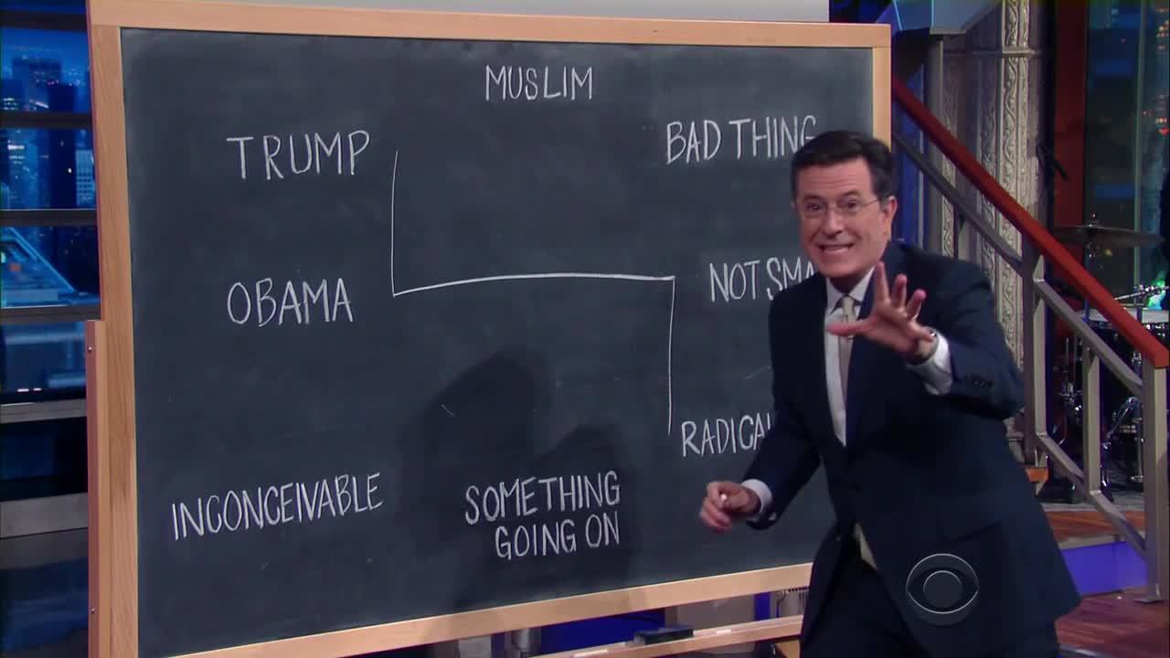colbert, stephen colbert, the late show, This Diagram Explains Trump's Response To Orlando GIFs