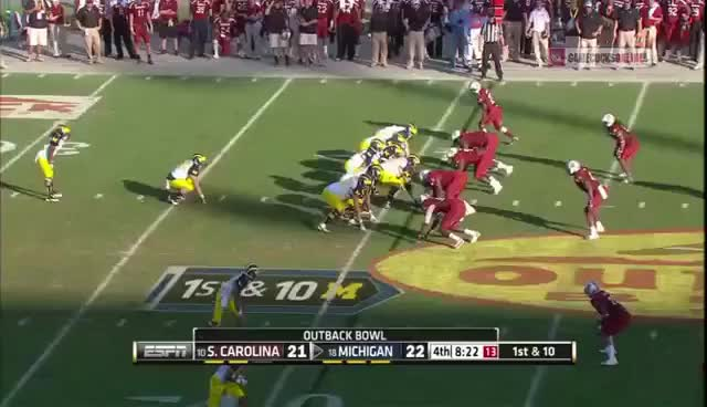 Watch and share Jadeveon Clowney Hit Vs. Michigan - Outback Bowl GIFs on Gfycat