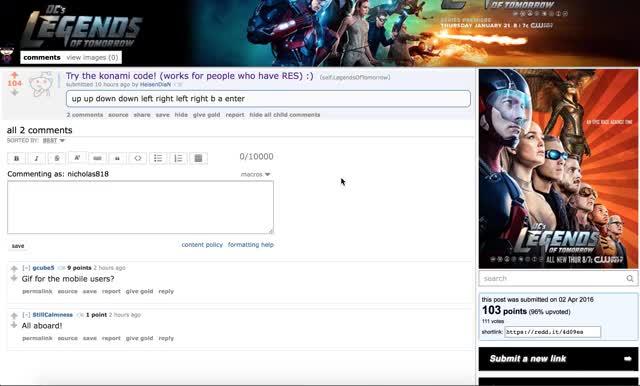 Watch /r/LegendsOfTomorrow Konami Code GIF by @nick818 on Gfycat. Discover more legendsoftomorrow GIFs on Gfycat