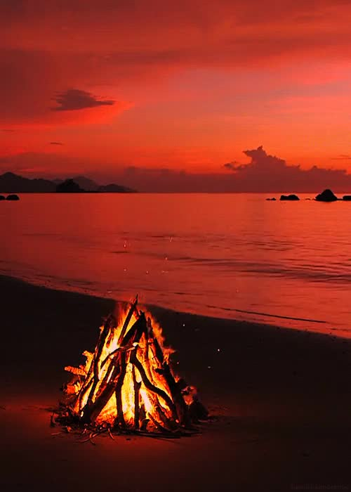Watch and share Fire On The Beach Sunset Calming GIFs on Gfycat