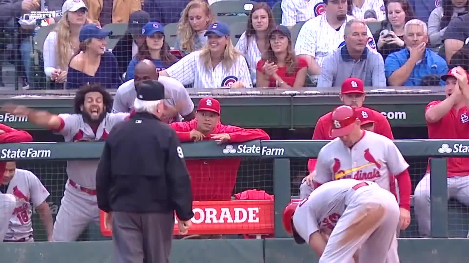 baseball, cardinals, st louis cardinals, st. louis, Jose Martinez calling the runner safe. GIFs