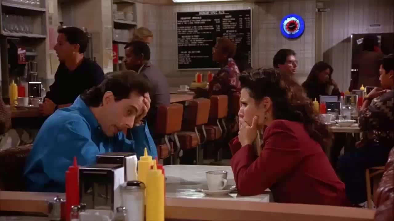 dating, jerry seinfeld, julia louis dreyfus, newman, seinfeld, Jerry Elaine Discuss Newman GIFs