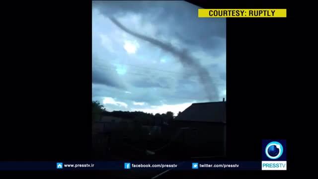 Tornado tears through village in the Altai region GIFs