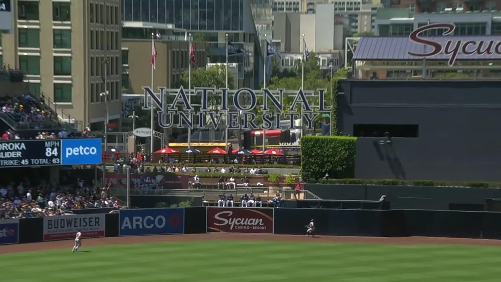 atlanta, baseball, braves, Ronald Acuña Jr. robs Manny Machado of home run - Angle 2 GIFs