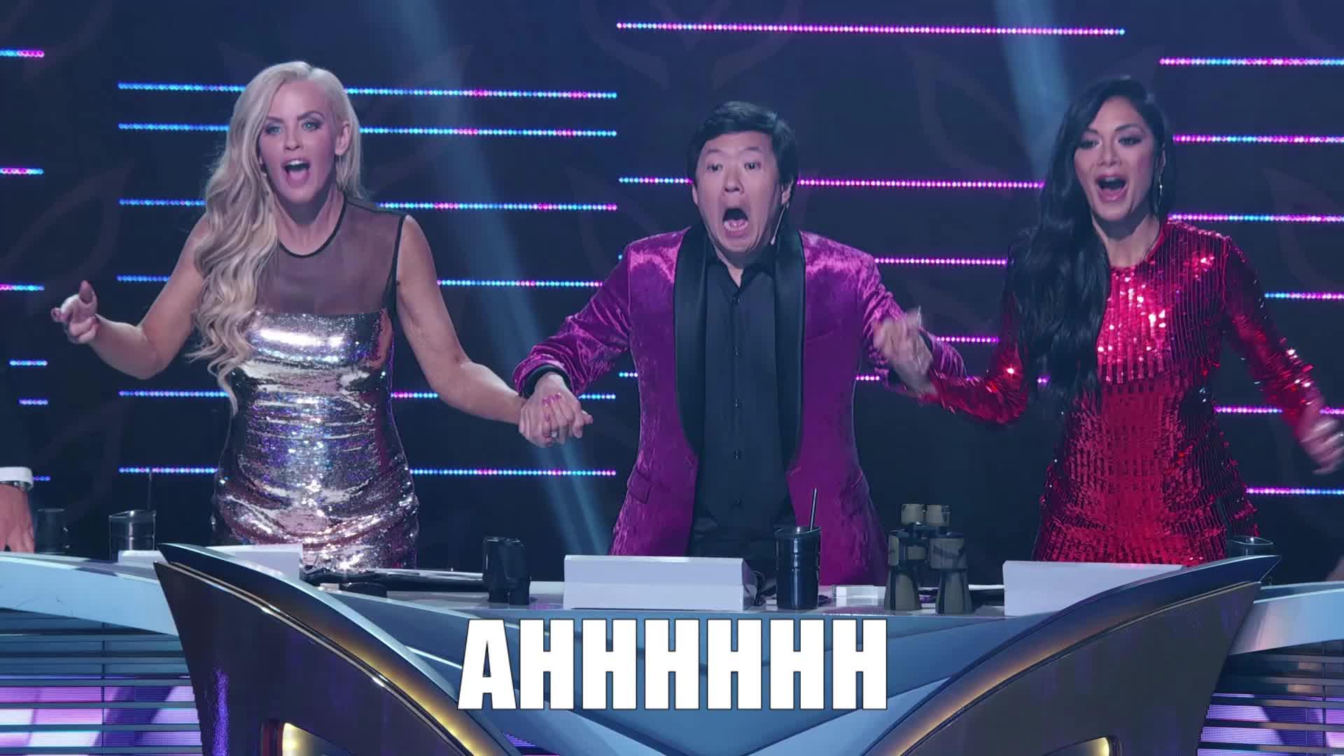 ahhh, excited, jenny mccarthy, ken jeong, masked singer, nicole scherzinger, omg, scream, screaming, shocked, surprise, the masked singer, the masked singer on fox, Jenny, Ken, and Nicole Ahhhh GIFs