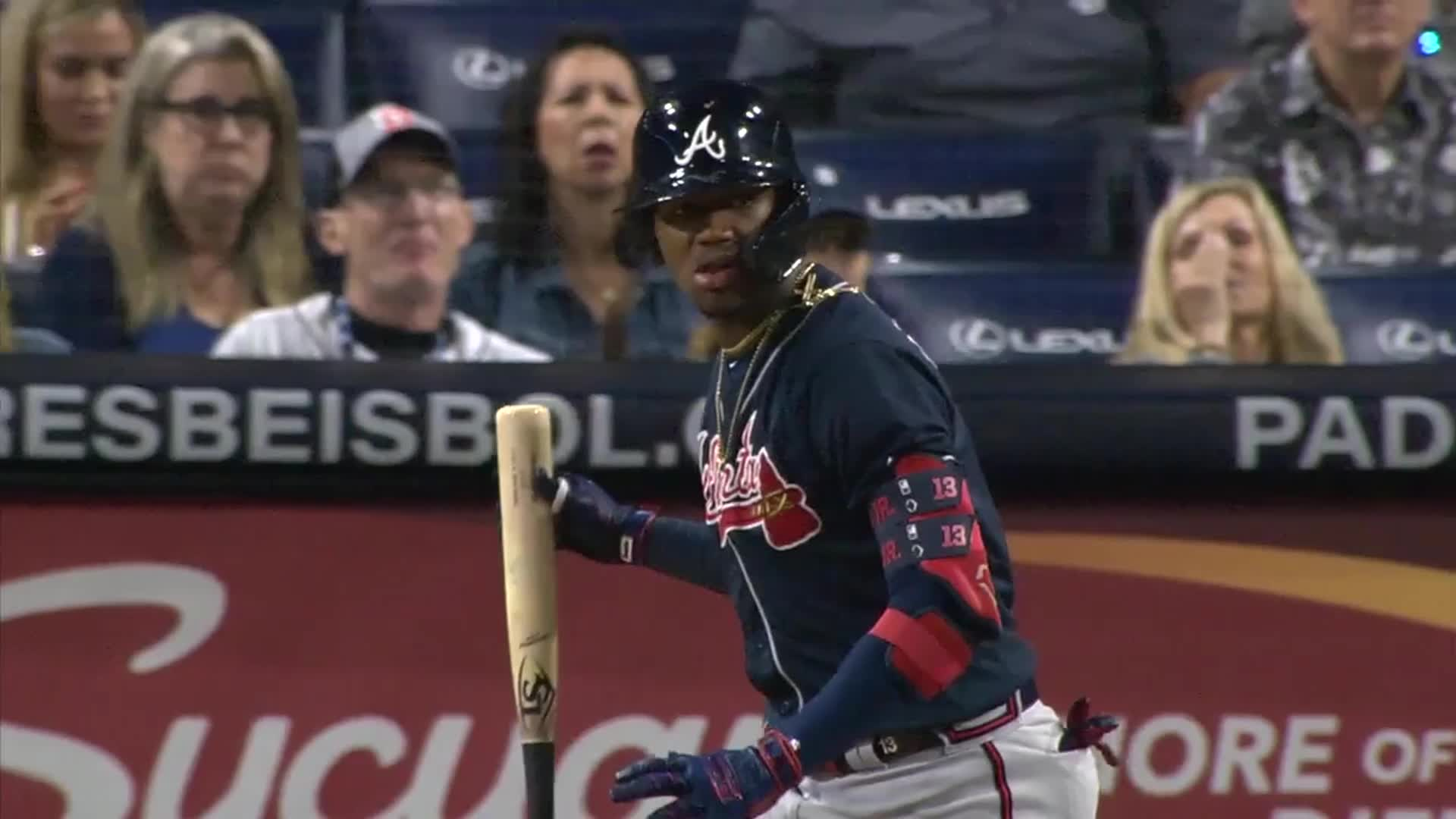 atlanta, baseball, braves, Ronald Acuña Jr. bat drop after 455 ft home run. GIFs
