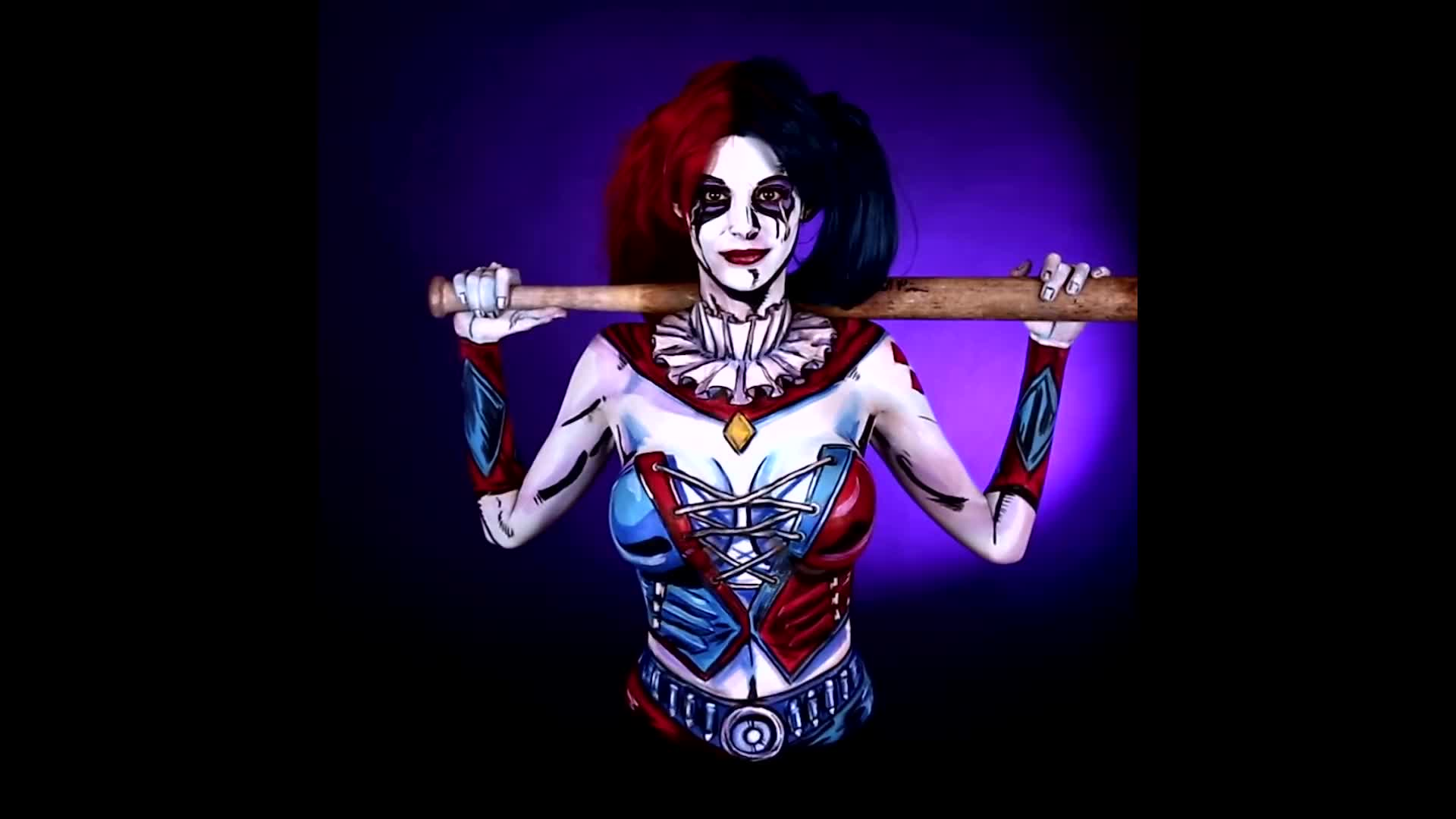 art, batman, body, body art, body paint, body- paint, body-art, bodyart, dark knight, dc, dcu, harley, harley quinn, joker, lapse, paint, quinn, suicide squad, suicidesquad, time, Harley Quinn Body Paint Tutorial Time Lapse GIFs