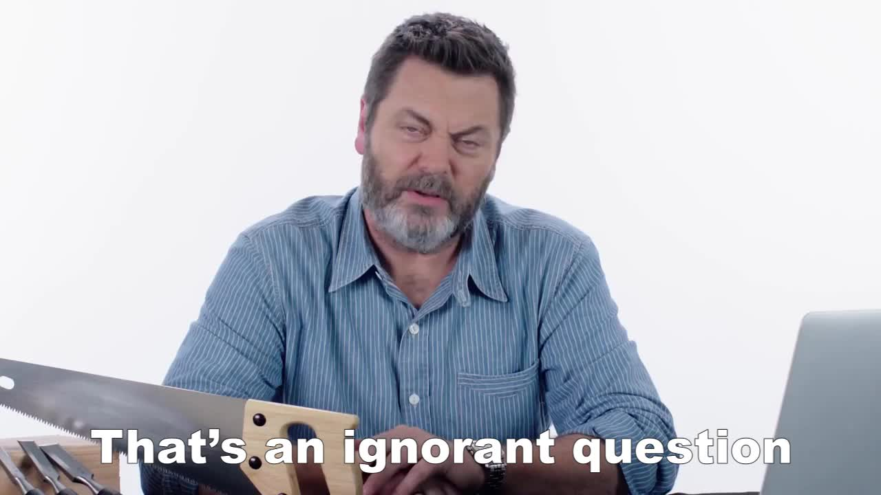 GIF Brewery, confused, gif brewery, huh, nick-offerman-answers-woodworking-questions-from-twitter-tec, question, question mark, questioning, what, That's an ignorant question GIFs