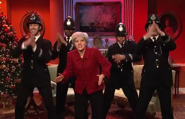 Happy Christmas, Britain - SNL xmas uk theresa snl saturday party night may live holidays happy dance christmas britain curated GIF