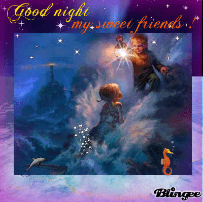 Good Night My Sweet Friends Wishes With Baby Couple And Twinkling