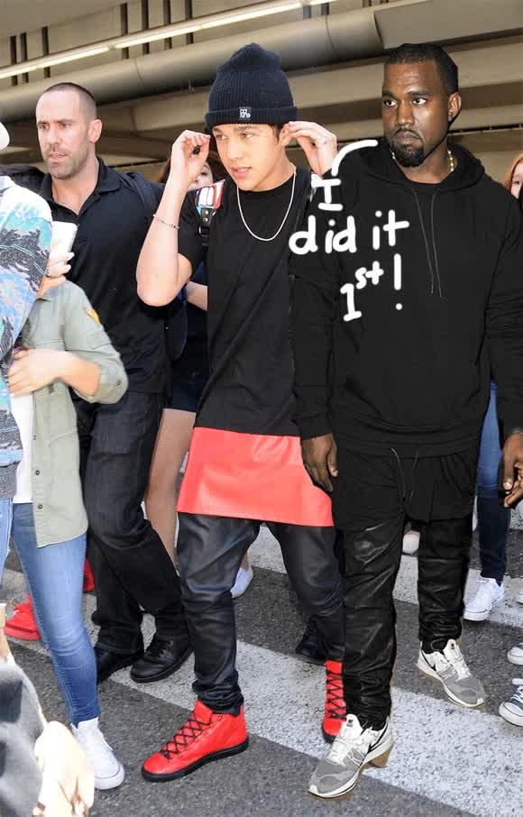Watch and share Austin Mahone Copies Kanye West's Leather Skirt And Pants Combo At LAX! GIFs on Gfycat